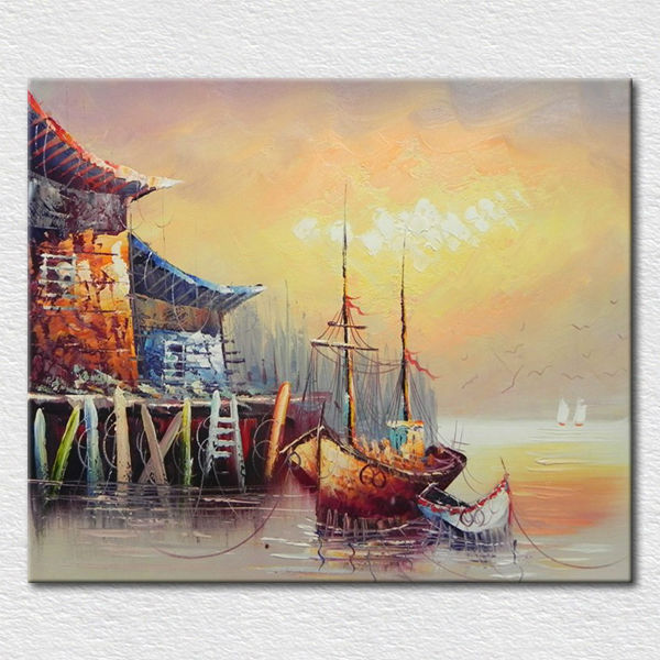Canvas beautiful landscape oil painting boat