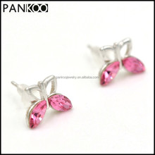 New Arrival !!! Butterfly Shape Pink Crystal Stud Platinum Plated 925 Sterling Silver Earrings For Women