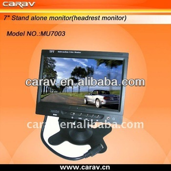 Stand Alone Dual Video Inputs 7 inch Car Lcd Screen Monitor For TV And Reversing With Built-in Speaker