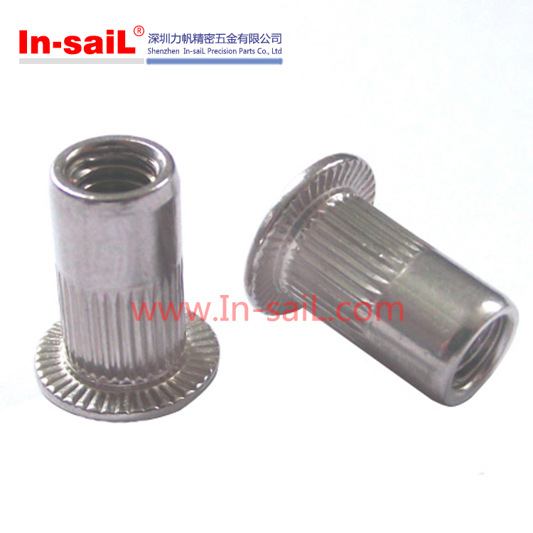 China supplier OEM service knurled flat head M6 stainless steel 304 rivet nut manufacturer