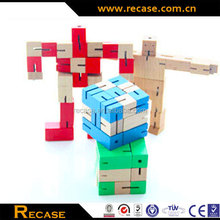 educational toy for kids wooden color changed robot wooden robot toy