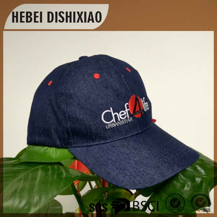 Fashion denim baseball cap custom embroidery logo red eyelets denim caps and hats for men and women