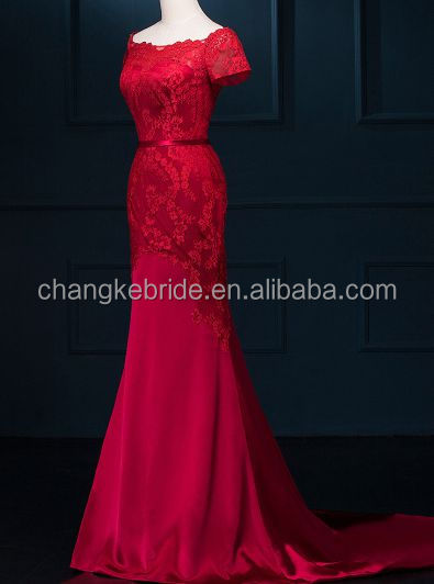 Elegant Red Short Sleeves Chiffon Satin Wedding Bridesmaid Dress Long Lace Gown