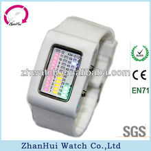 2013 Hot sale colorful advertisement electronic watch led silicone belt rectangular dial watch fashion