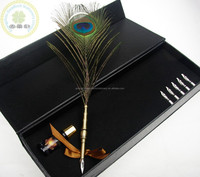 Excellent grade Natural Ostrich Feather Quill Pen/Best Wedding Gift Feather Fountain Pen Set