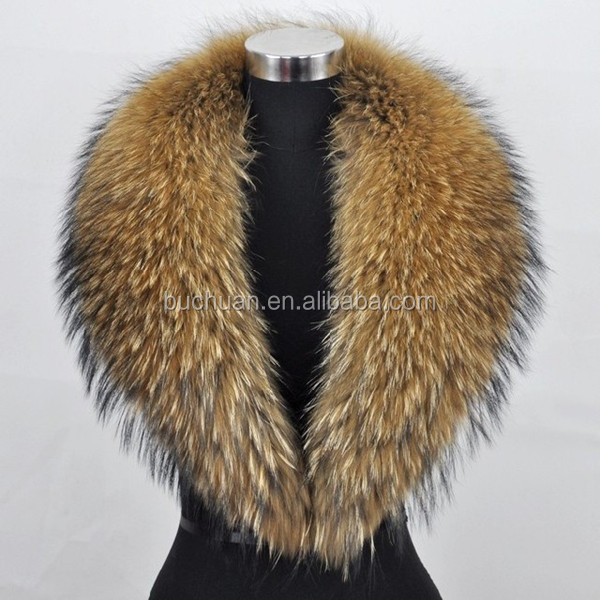 Soft Natural Color Raccoon Fur Trim For Hood