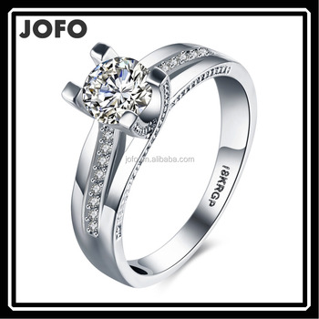 Fashion silver Plated Four Claw Zircon Couple Ring Gift For Wedding