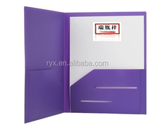Heavy Duty Plastic 2 Pocket Folder For Letter Size Papers, Includes Business Card Slot