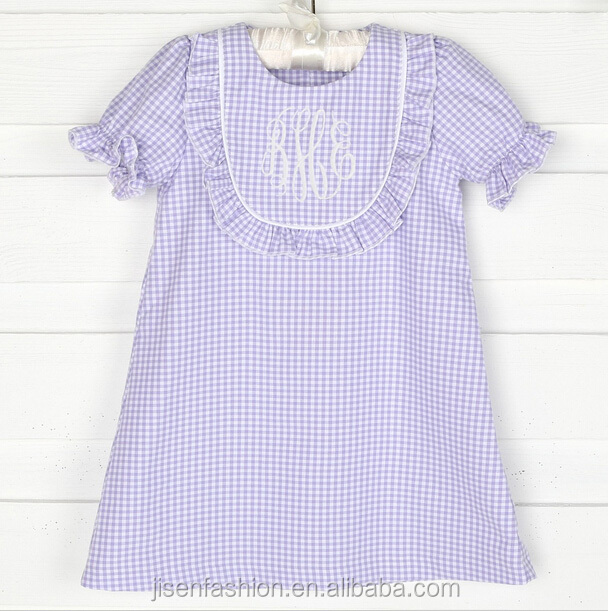 100% cotton vintage violet check toddler bib dress