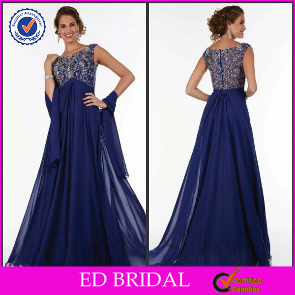 EDM103 Nice Crystal Empire Waist with Wrap Royal Blue Mother of the Bride Dresses
