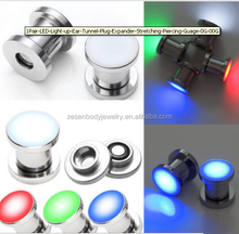 1Pair LED Light up Ear Tunnel Plug Expander Stretching Piercing Guage