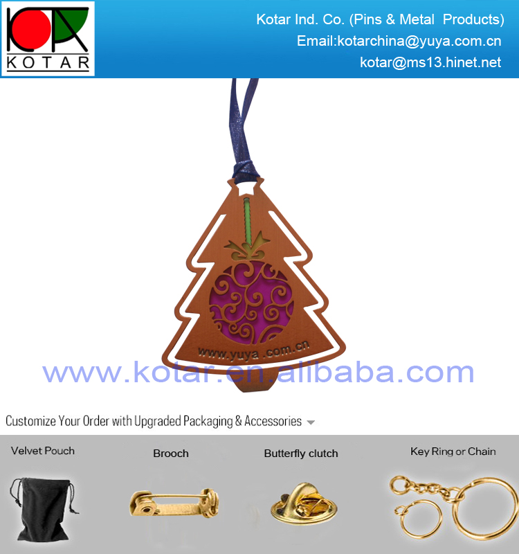 Existing fashion christmas tree shape metal bookmark