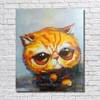 Big head baby cat canvas decorative painting for kitchen hand painted canvas art wall picture for bedroom