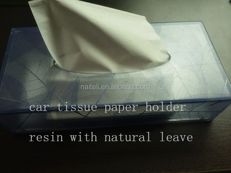 Acrylic Natural Leave Car Tissue Paper holder