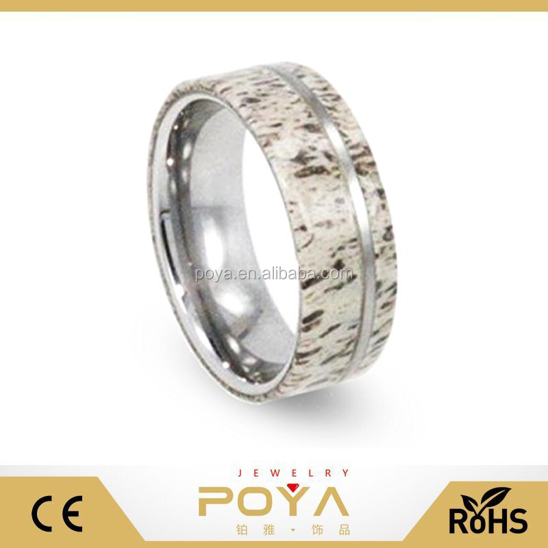 POYA Monili 8mm Antler Fascia di Cerimonia Nuziale Con Tungsteno Gessato, Mens del Tungsteno Wedding Band