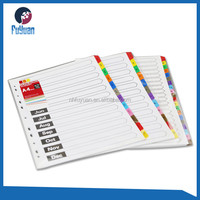 A4 paper index file divider sheet with colorful tab