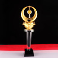 Wholesale business gold metal color crystal trophy