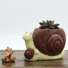 ROOGO Handicraft articles snails resin vase animal christmas resin flower pot stands designs