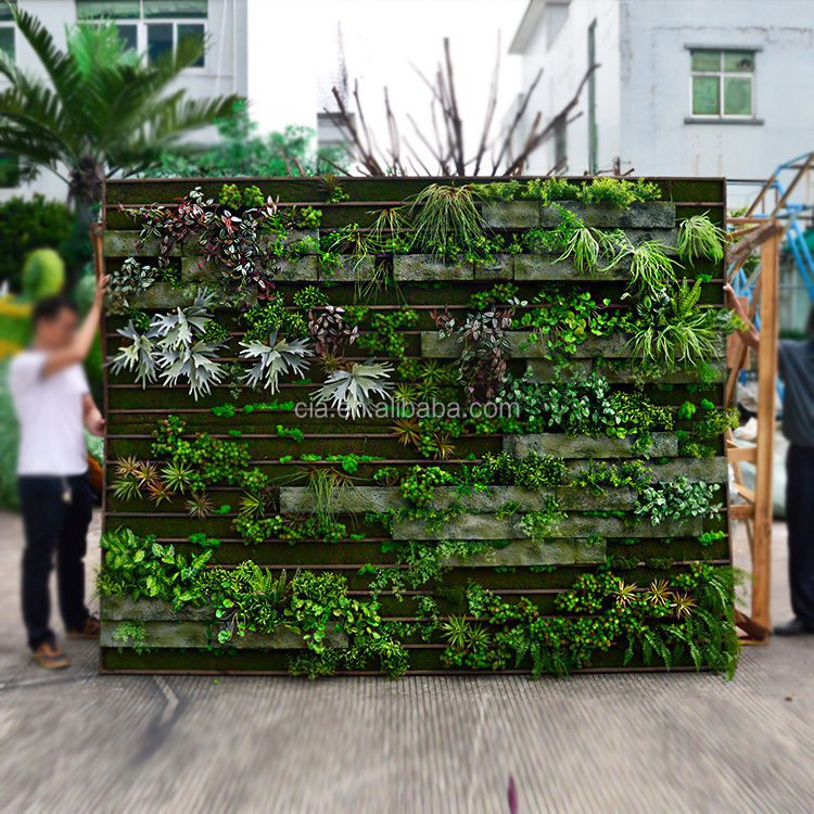CIA factory High Quality Manufature Plastic Artificial Boxwood hedge Artificial Green Wall