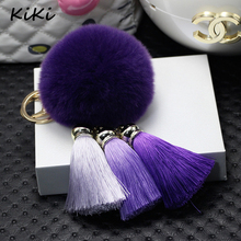 >>>Fancy Fantasy 100% REAL Rabbit Fur Ball Plush Fur Key Chain POM POM Keychain With 3 Fancy Tassel Pompom Car Bag Keychain