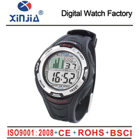 round alloy case digital watch with LED back light