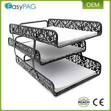 Customized made embossing folding metal office and school desk document file tray