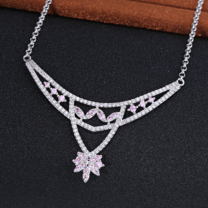 Promotion Elegant Silver Crystal Pendants Necklaces Bridal Wedding Jewelry For Women