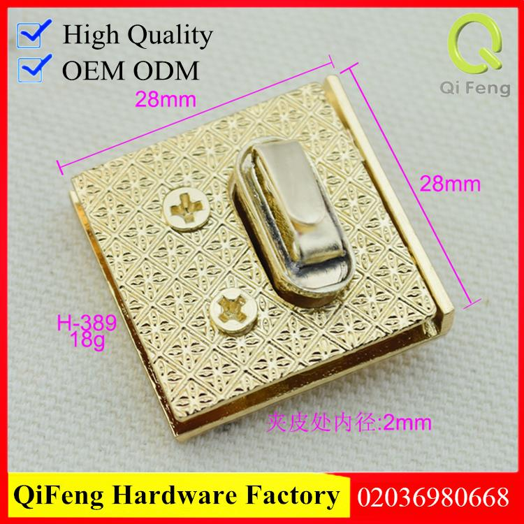 F-529 square shape handbag push lock in nickel color from Qifeng hardware