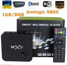 Quad Core Smart Google Android tv box MXV with 1gb ram 8gb rom Kodi installed lifetime free English channels