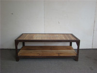 Antique industrial reclaimed wood furniture coffee table