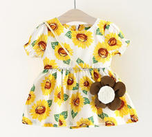 SEVWEN new arrival children boutique frocks design floral ruffles spaghetti strap baby dress