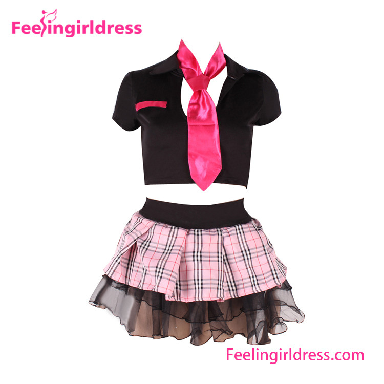 Black Crop Top With Pink Tie And Cute Tutu Skirt Anime Cosplay Costume