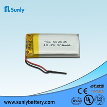 Hot Selling Li-Polymer Battery 552035 Lithium Ion Battery 350mAh 3.7v