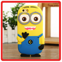 Cute Cartoon Yellow Despicable Me Minion Animal yellow people model silicon phone case for iPhone 6 6s plus