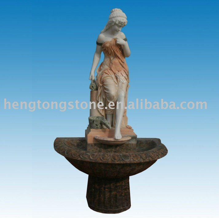 French Maiden with Jug Statue Marble Fountain