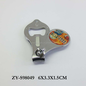 Silver Metal nail clipper with bottle opener