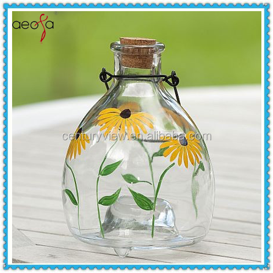 Glass painting flowers wasp trap insect catcher