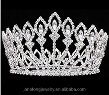 Full Round Pageant <strong>Crown</strong> Beauty Queen Big Tiara Rhinestone <strong>Crown</strong>