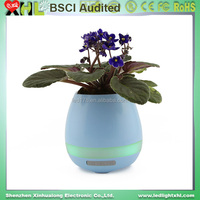 wholesales Multifunction Plastic music flower pot with bluetooth function colorful led