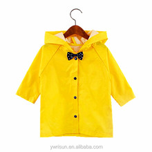 Hot Selling Girls Yellow Waterproof Raincoats Kids Nylon Custom Rain Coat
