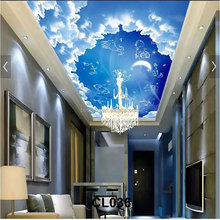 Four materials available custom size Sky ceiling mural for home decorates
