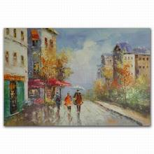 Modern figurative rain street scenery tuscany landscape oil painting art paintings