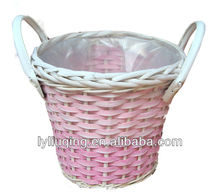 handmade pink wicker flower basket with plastic liner(facotry supply)