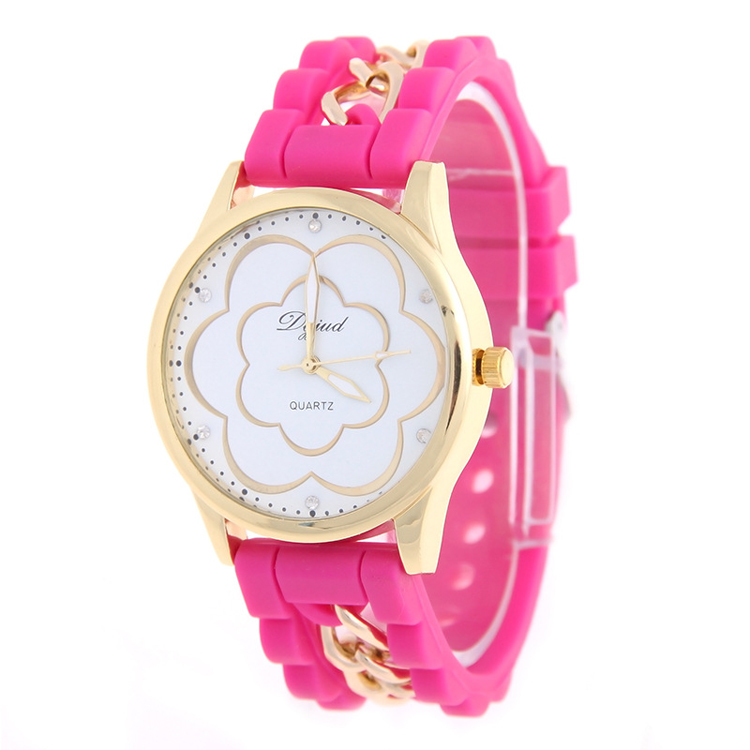Hot pink silicone watch popular in USA and Europe, best selling watch model in 2017