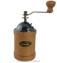 cylindrical wooden coffee grinder machine