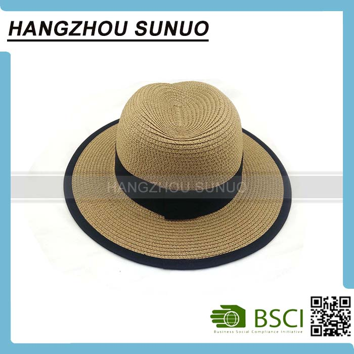 Cheap Funny 100% Natural Straw Black Ribbon Kids Beach Straw Hat