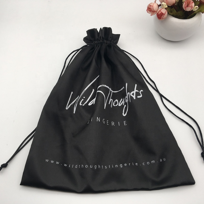 Personalized Black Satin Lingerie Packaging Bag