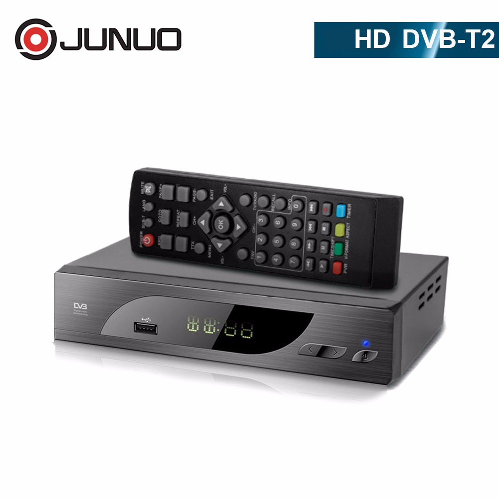 JUNUO OEM free to air tv tuner hd mpeg4 set top box dvb-t2 h.265, tv decoder for Germany/Italy/Spain