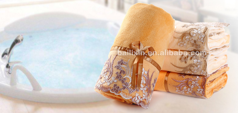 China products high quality microfiber fabric yard terry bath towel for sport with lace