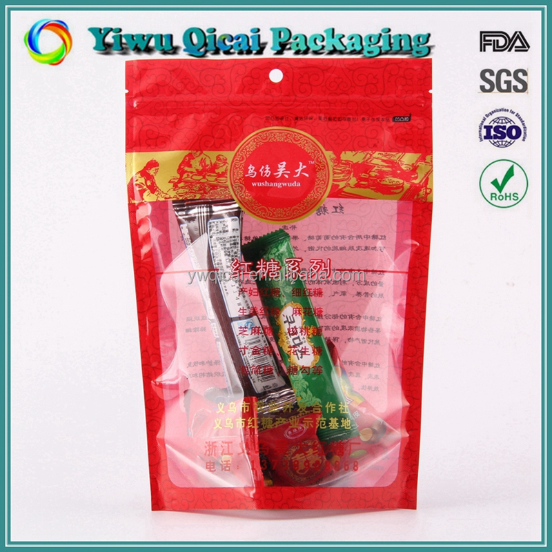 Laminated stand up plastic food packaging pouch with zipper